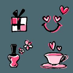 ピンク×ブラック×スマイル手書き風絵文字