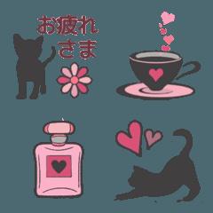 大人ピンク×子猫シルエット
