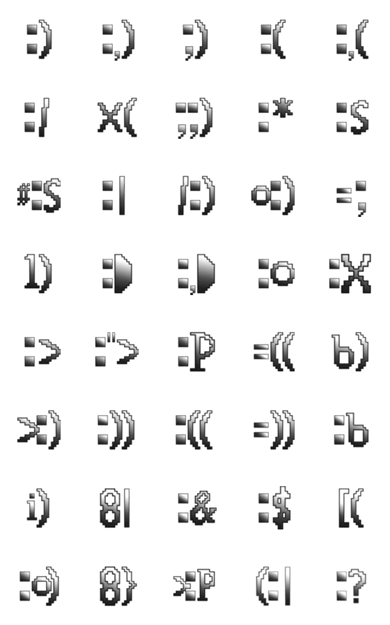 Retro-Emojis in Silver-詳細画像