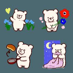 手描きのしろくまと初夏の花【絵文字】