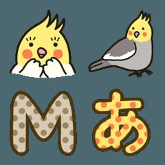 オカメインコ絵文字+水玉デコ文字セット