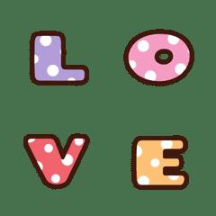 English alphabet multi color polka dot