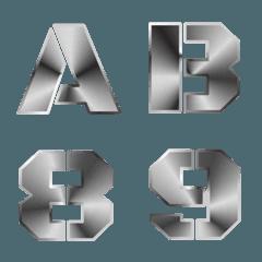 English alphabet metallic design