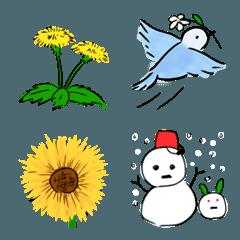 花や小鳥たち