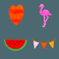 水彩の夏絵文字