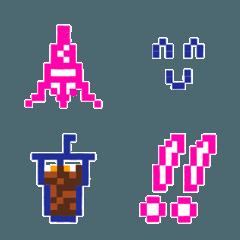 ピンク&ネイビー☆ドット絵文字