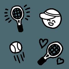 シンプル&クールな白黒テニス絵文字