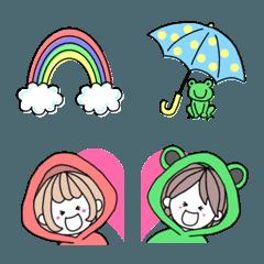 使える!!手書き絵文字♥梅雨カップル