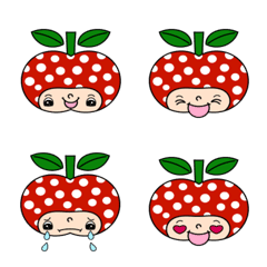 水玉リンゴちゃん絵文字1