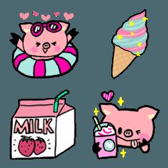 夏ver♡コブタちゃんと食べ物の絵文字