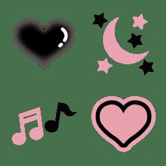 かわいい絵文字♪ブラック&ピンク!