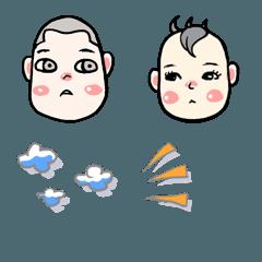かわいい双子の赤ちゃんと漫画の表現