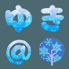 雪の結晶フォント(青系グラデ)