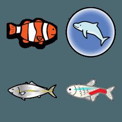 海と水の生き物絵文字