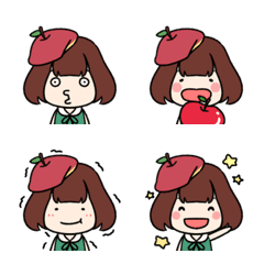 りんごのお嬢さん「ポムちゃん」絵文字