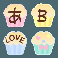 カップケーキのかわいいデコ文字+絵文字