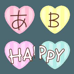 カラフルハートのデコ文字+絵文字