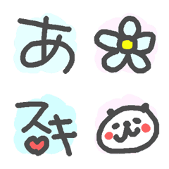 手書き風絵文字とぱんだひよこ!