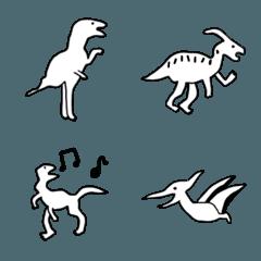 モノクロ+ゆる恐竜。