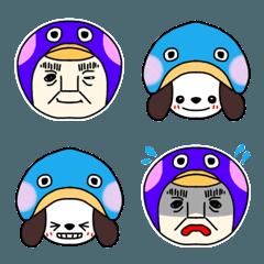 ペンギンおじさんと犬 表情色々