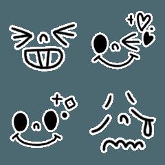 【顔文字】ふちどりモノトーン絵文字
