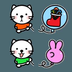 ねこちゃんと風船がつながる絵文字 (冬)