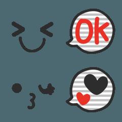 大人かわいい顔文字(モノトーンボーダー)