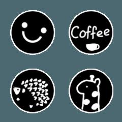 シンプル黒い顔絵文字