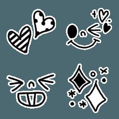 【顔文字♪】ふちどりモノトーン絵文字