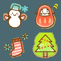 冬*ふんわり絵文字*クリスマス&お正月