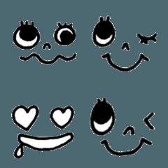 手描き【黒ペン】シンプル表情顔文字