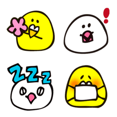 ことりさん絵文字 (文鳥とインコ) 2