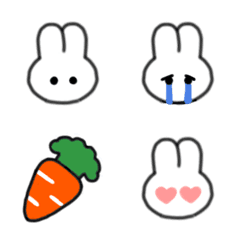 シンプル見やすい♫しろうさぎ顔絵文字