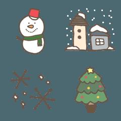 シンプル使いやすい冬の絵文字セット