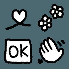 語尾によく使うモノクロ絵文字