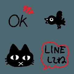 シンプルな使える絵文字 レッド&ブラック