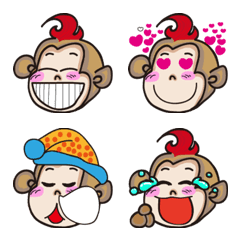 Flaming monkey cute emoji