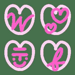 ピンクでかわいいハート筆記体英数字
