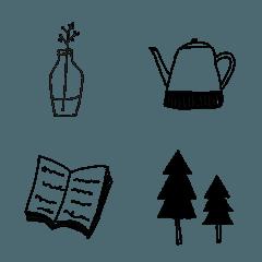 北欧風モノクロ絵文字