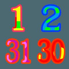 カラフルスケジュール・1~31・月日・曜日