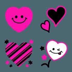 ピンク×ブラック♡スマイル×ハート絵文字