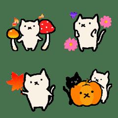 秋の日の手描きねこ【絵文字】