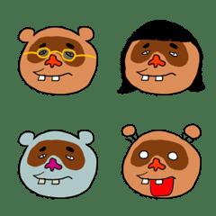 たくさんの顔 タヌキ