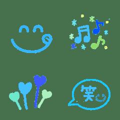 青色系♪さわやか夏の可愛い絵文字