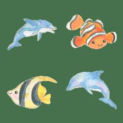 イルカと夏の絵文字