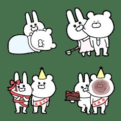 ウサギとクマのラブラブ絵文字♥