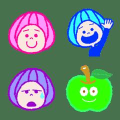 ゴーゴーあおリンゴの絵文字(Neon color♪)