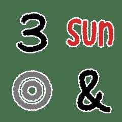 日付や記号のクレヨン絵文字♡