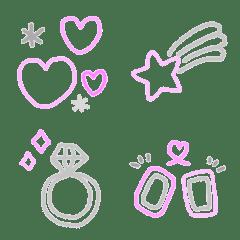 ふちだけパステル絵文字02 ピンク♡グレー