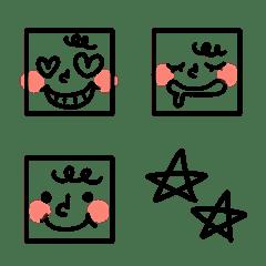 シンプルな四角い顔絵文字